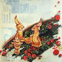 Toile de 1m x 1m Peinture acrylique sur journaux teintés et marouflés sur châssis coton