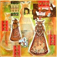 Toile de 50cm x 50cm Peinture acrylique sur journaux teintés et marouflés sur châssis coton
