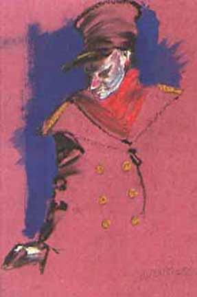 """Pastels gras/papier couleur - 180/130 - """"Théâtre virtuel : le cocher"""""""