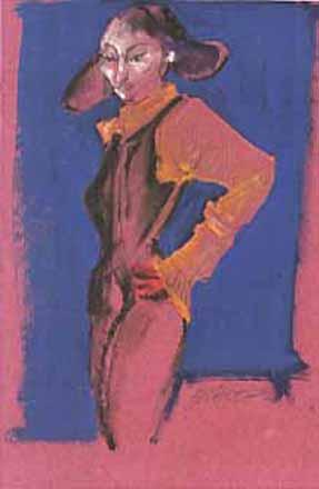 """Pastels gras/papier couleur - 180/130 - """"Théâtre virtuel : Colombine"""""""