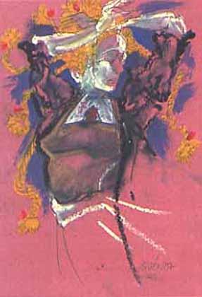 """Pastels gras/papier couleur - 180/130 - """"Théâtre virtuel : la danseuse"""""""