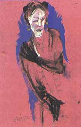 """Pastels gras/papier couleur - 180/130 - """"Théâtre virtuel : la gouvernante"""""""