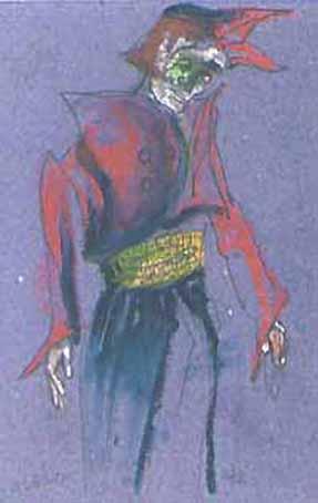 """Pastels gras/papier couleur - 180/130 - """"Théâtre virtuel : le pierrot"""""""