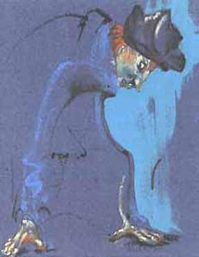 """Pastels gras/papier couleur - 180/130 - """"Théâtre virtuel : Le salut du renard"""""""