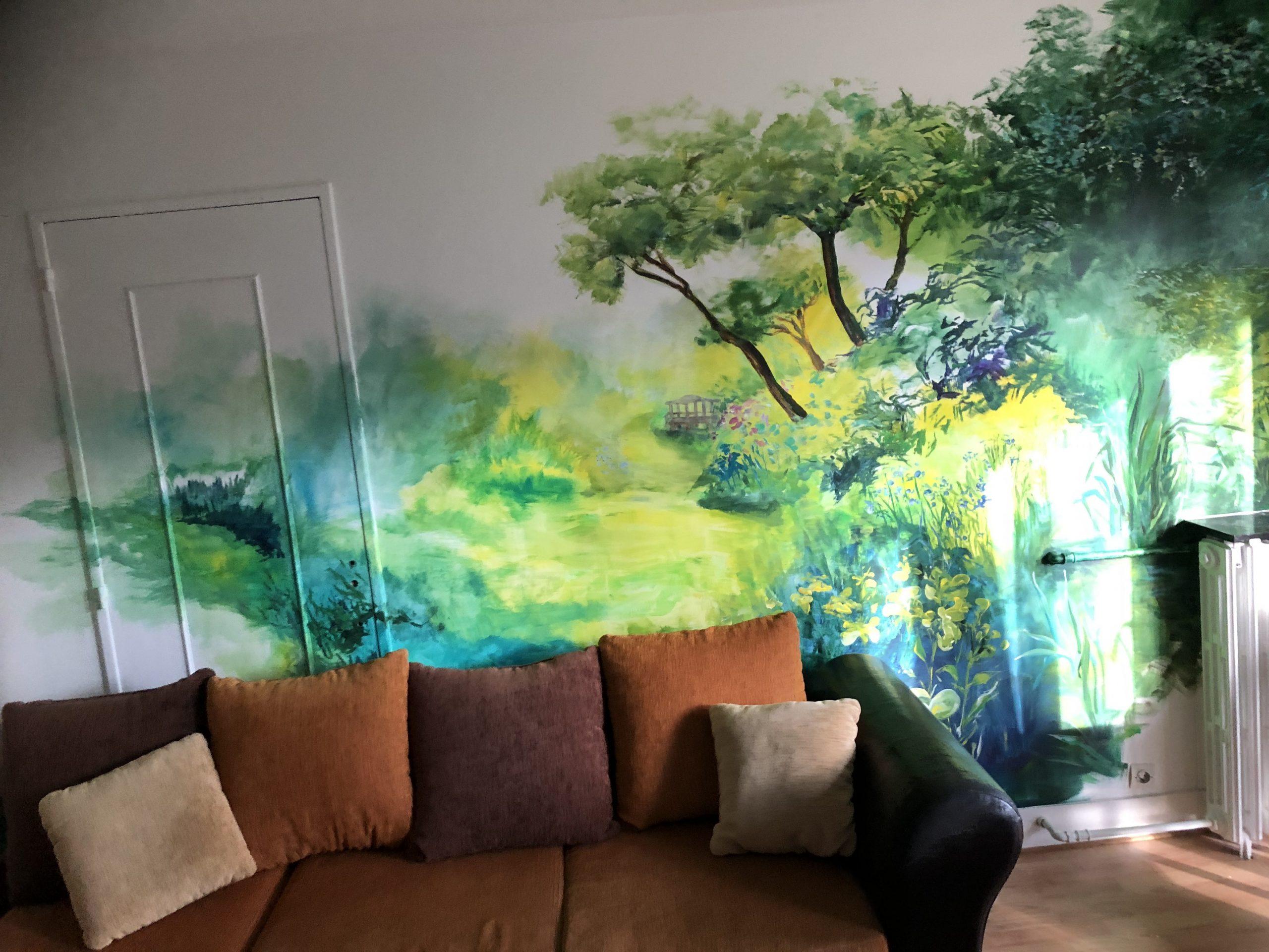 Le jardin anglais fresque murale artiste Christelle guénot