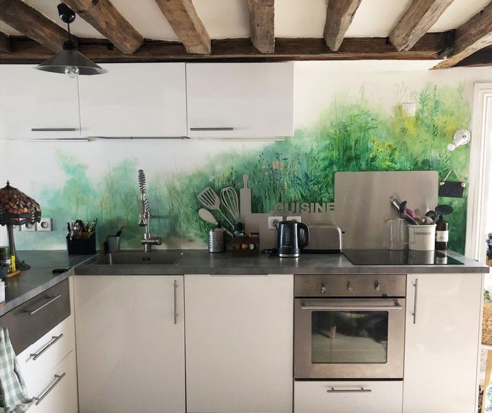 Fresque peinte artiste Cuisine
