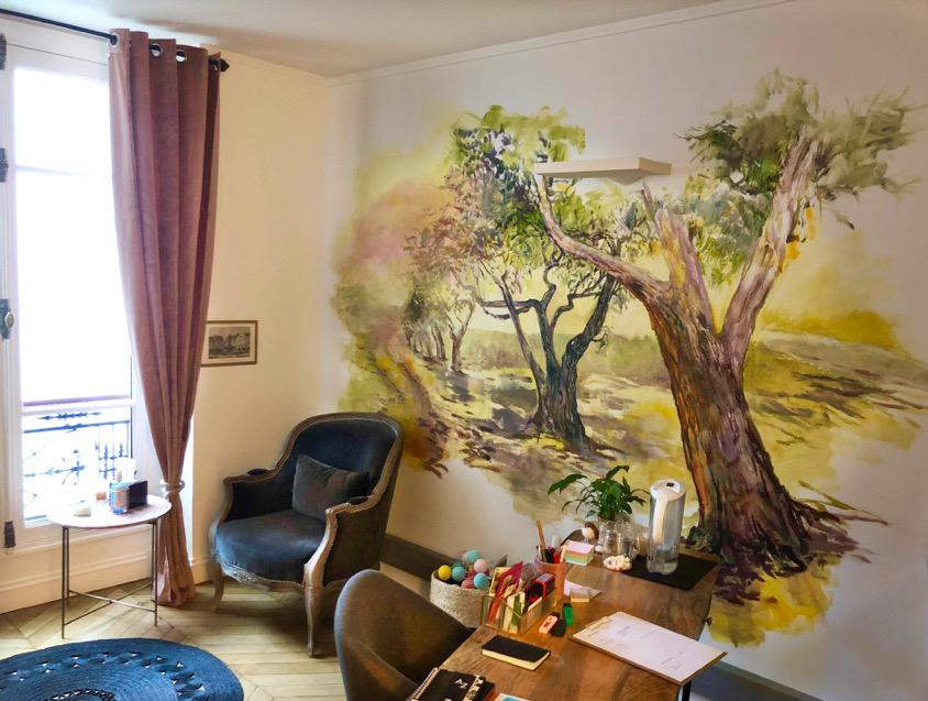 Fresque murale d'artiste pour un cabinet psy